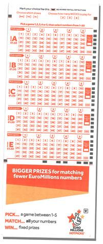 An illustration of a UK Euromillions Hotpicks ticket 2018