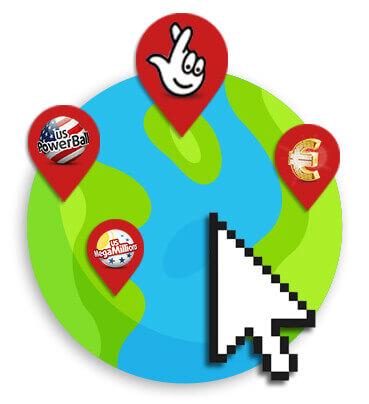 globo com ícones de loteria e cursor do mouse