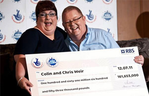 Chris and Colin Weir - Uk euromillions winners with check