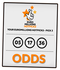 Euromillions hotpicks ticket (pick 3) with text odds