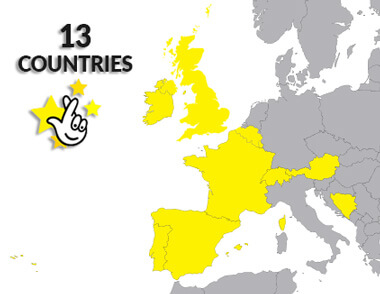 Map of participated countries in Euromillions