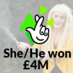national lottery scratchcard logo - She/he won 4 millions libras (text)